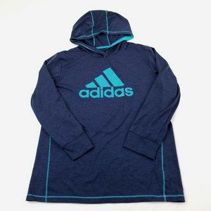 Adidas Navy Blue Climalite Hoodie Logo Sweater L
